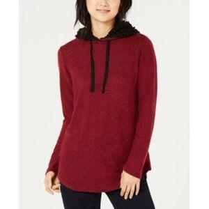 Ultra Flirt Black Red Sherpa Trimmed Hoodie Medium